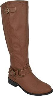 Lounge Women Flat Riding Knee High Boots Buckled Back Zipper OKSANA-84
