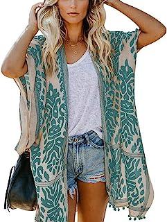 May Story Damen Sommer Kimono Cardigan Lässige Strand Poncho Retro Bedruckte Kurzarm Lange Bluse Tops Pareos Beachwear