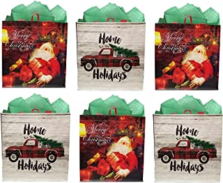 Earthwise Reusable Grocery Gift Bag Totes Assorted Xmas Christmas Holiday Shopping - Variety of Designs Foldable and Extremely Durable (Pack of 6)