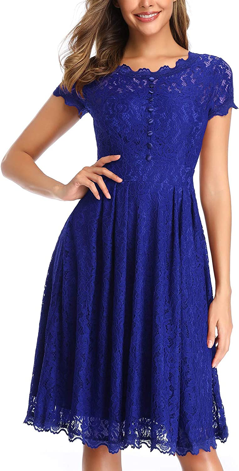 OWIN Women's Retro Floral Lace Cap Sleeve Vintage Rockabilly Swing Prom Party Bridesmaid Dress…