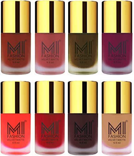 Matte Nail Polish Combo by MI Fashion®- Cherry Red,Light Peach,Olive Brown,Magenta,Orange,Tomato Red,Wine,Nude Velvet Dull Matte Nail Paint in Wholesale Rate – 9.9ml each product image