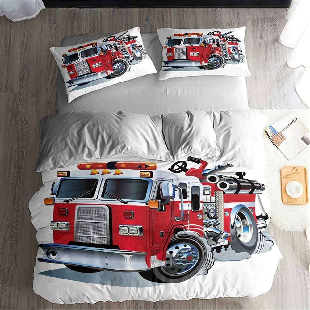 40% OFF Cheap Sale American Flag Discount mail order Fire Truck red Set Co Duvet Bedding Printed