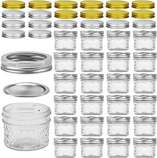 Mini Mason Jars, VERONES Mason Jars 4 oz With Regular Lids, Ideal for Jam, Honey, Wedding Favors, Shower Favors, Baby Food...