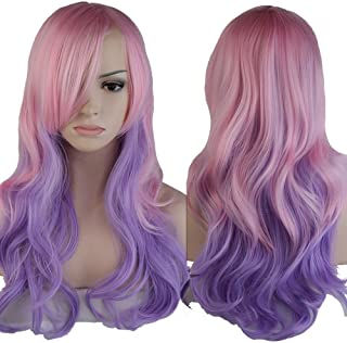 Long Wavy Ombre Cosplay Full Hair Wigs Women Anime Costume Party Dress Heat Reisistant Synthetic Curly Wig With Bangs Pastel Pink Purple 24