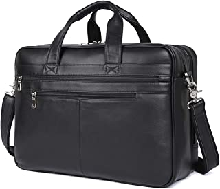 Texbo Men's 17 Inch Solid Genuine Leather Professional Laptop Briefcase Messenger Shoulder Bag