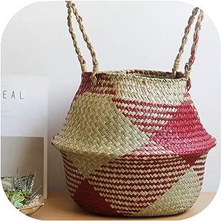 TOKYO HOT Seagrass Laundry Basket Natural Rattan Flower Basket Vase Planter Nursery Pot Belly Basket Straw Toys Organizer Home Decor,Red,32 X 28Cm