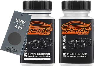 TRISTARcolor Autolack Lackstift Set für BMW A90 Sophistograu Brilliant Metallic Basislack Klarlack je 50ml
