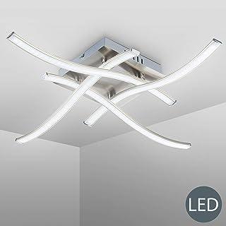 B.K.Licht - Lámpara de techo con 4 placas de luz LED, para interiores, de luz blanca cálida, 3,4W y 350 lúmenes, 3000K, color níquel mate