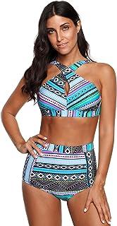 840a4098ca PinUp Angel High Waisted Floral Bikini Front Cross Tribal Ladies Plus Size  Swimwear