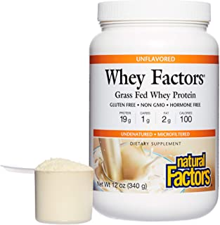 Whey Factors by Natural Factors, Grass Fed Whey Protein Concentrate, Supports Muscle Development and Immune Health, Gluten...