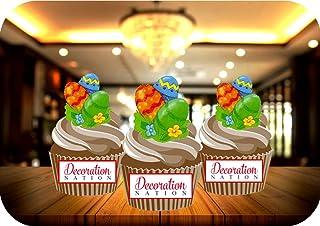 Precut Pâques Cupcake Topper Gâteau Décorations Colorées oeufs Pack de 12