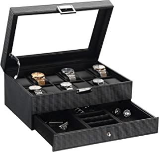 BEWISHOME Watch Box Organizer with Valet Drawer - Real Glass Top, Adjustable Tray, Metal Hinge, Carbon Fiber Design - 12 Slots Watch Storage Case for Men, Black SSH02C