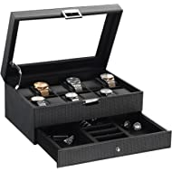BEWISHOME Watch Box Organizer with Valet Drawer - Real Glass Top, Adjustable Tray, Metal Hinge,...