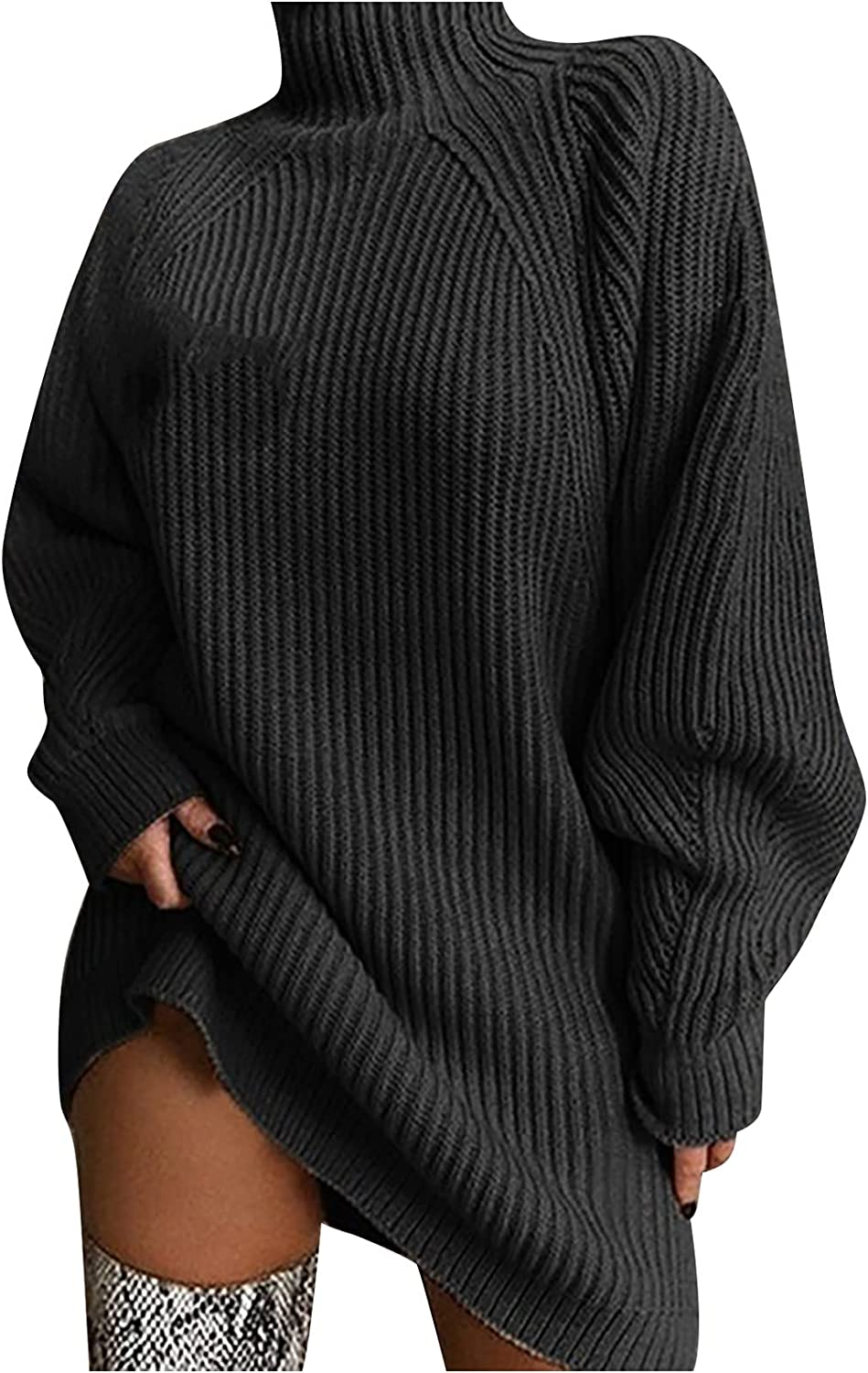Ribbed Solid Pullover Sweater for Women Lightweight Long-Sleeve Crew Turtleneck Batwing Warm Winter Fall Tunic Tops