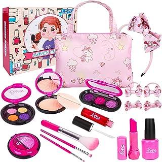 دختران وانمود می کنند مجموعه های آرایشی بازی - کیت های آرایش جعلی LOYO با کیف لوازم آرایشی برای دختران کوچک هدیه تعطیلات تولد کریسمس ، ست آرایش اسباب بازی برای دختران کودک نو پا 2 ، 3 ، 4 ، 5 (آرایش واقعی نیست)
