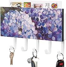 Crochet de clé fixé au mur, trieur de courrier, décor à la maison violet de pétale de plante bleue de fleur pour la pièce ...
