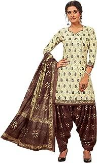 Jevi Prints Women's Cotton Printed Straight Stitched Salwar Suit Set (SUIT_CP-346_Beige & Brown)