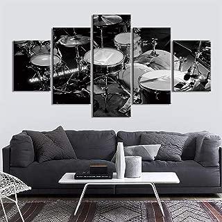 TMMTO Cuadro sobre Lienzo 5 Piezas Drum Set Music Poster Wall Art Vintage Música Clásica Imágenes Decoración del Hogar Decoración Decoración del Hogar-Sin Marco