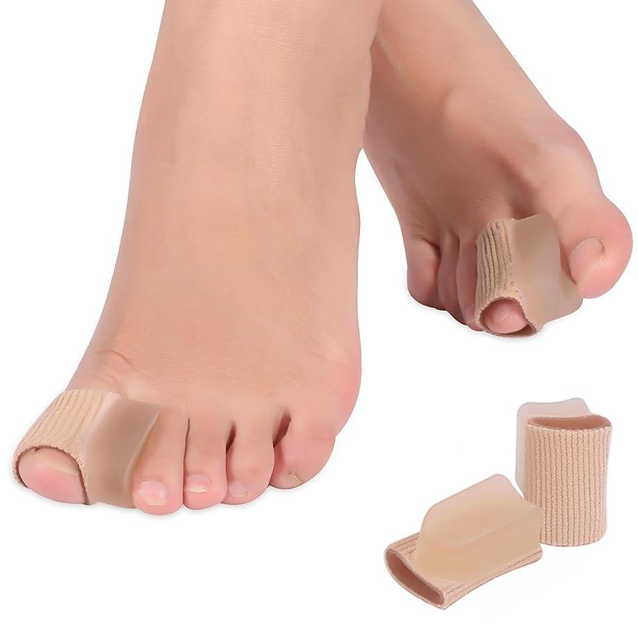 数学者メドレー平行親指ジェルパッド 足指分離パッド 足指スペーサー 足指矯正 ソフトなジェル製 伸縮 柔軟 足指保護 親指ケア 肌色「4個セット」
