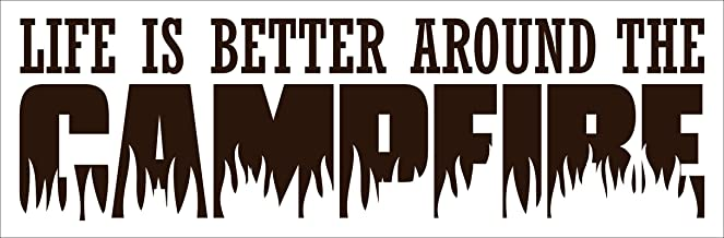 """Wall Decor Plus More WDPM3613 """"Life is Better Around the Campfire Summer"""" Vinyl Wall Decal, 23"""" x 7"""", Choc Brown"""