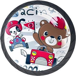 Tiroir Poignées Tirez pour la maison de cuisine commode garde-robe,Voiture de course de conduite de dessin animé d'ours en...