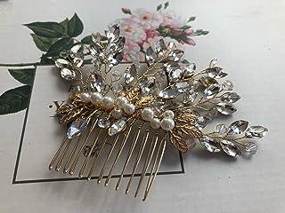 手工制作新娘发饰件 发梳 发带 3D 水晶 串珠 手绘银金色叶子 发梳 DHE12