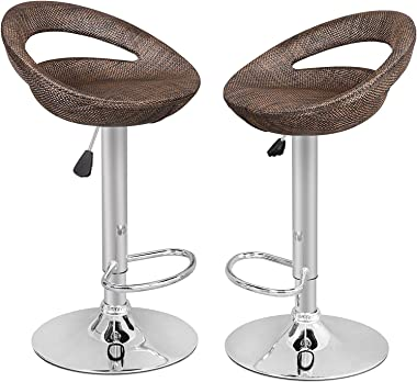 SUPER DEAL Adjustable Pub Wicker Barstool ALL Weather Patio Bar Stool Indoor/Outdoor w/Gas Lift 25-34 inch, Open Back and Chr