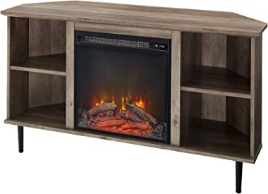 """Walker Edison Simple Corner Fireplace Stand with Open 52"""" Flat Screen Universal TV Console Living Room Shelves Entertainment"""