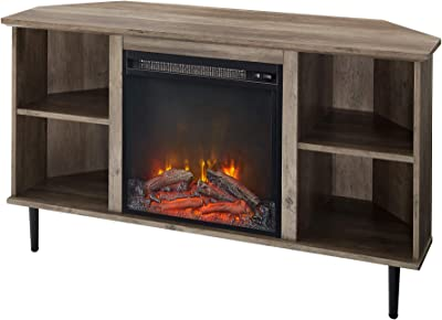 """Walker Edison Simple Corner Fireplace Stand with Open 52"""" Flat Screen Universal TV Console Living Room Shelves Entertainment Center, 48 Inch, Grey Wash"""