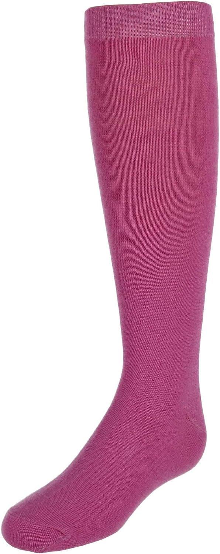 CTM Girl's Flat Knit Knee High Socks