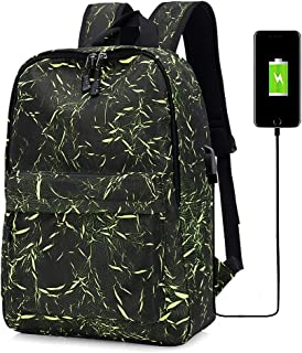 KUVV Durable Multifunction Fashion Shoulder Computer Backpack Outdoor Leisure USB Charging Breathable, Wear-resistant, Shockproof High Capacity (Color : Green)