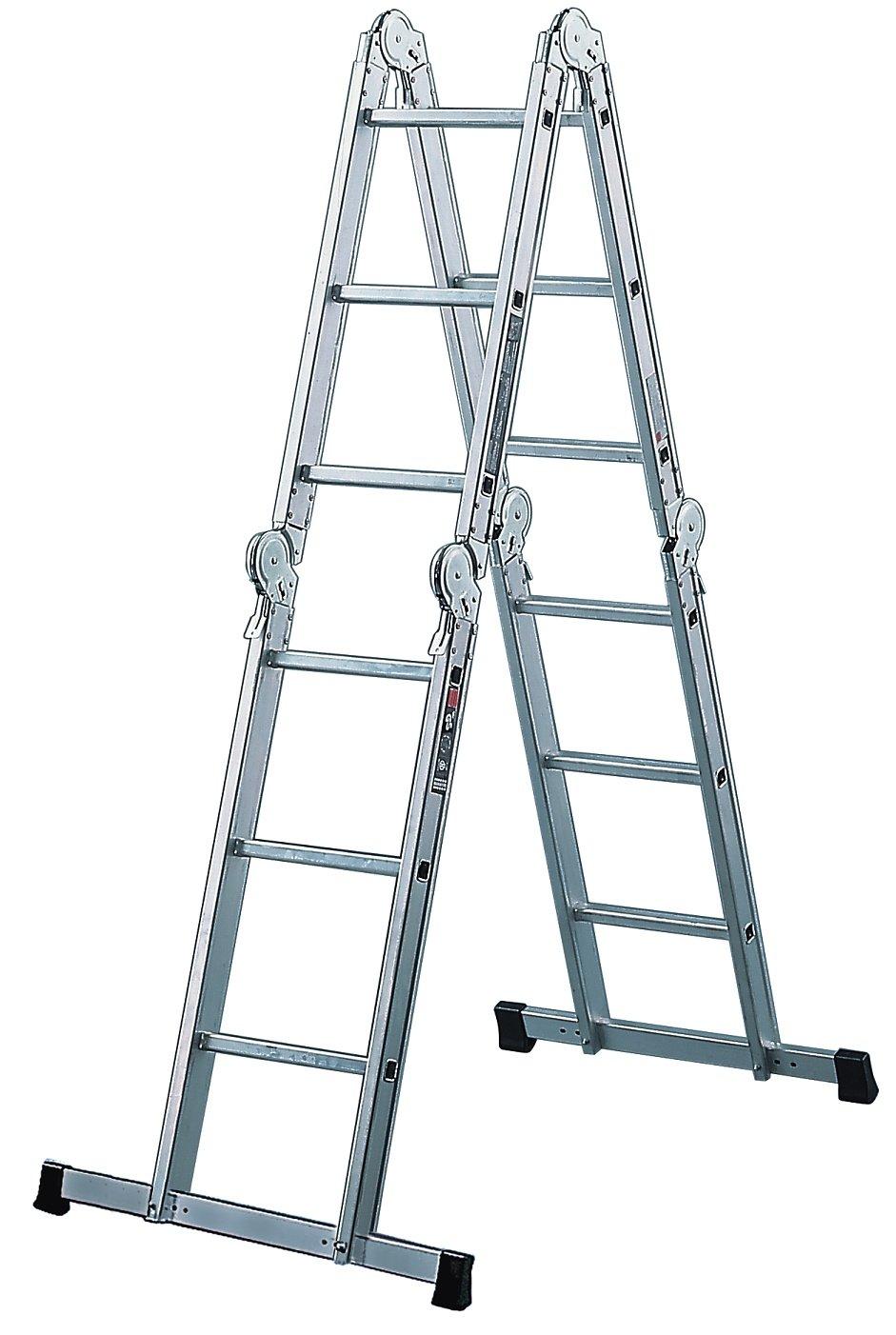 Brennenstuhl Brenette - multiusos escalera de aluminio de 6-empalme 12 peldaños, altura de pie de escalera de 1,8 M de longitud de la escalera de 3,6 M 1420070: Amazon.es: Iluminación