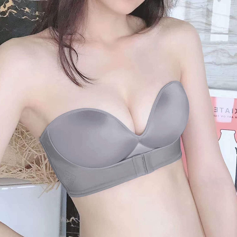 Strapless Bra for Women, Strapless Invisible Anti-Slip Push Up Bra, Strapless Front Buckle Lift Everyday Bra