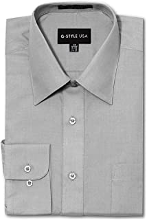 G-Style USA Men's Regular Fit Long Sleeve Solid Color Dress Shirts - Gray - X-Large - 32-33