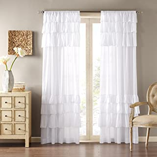 Madison Park WIN40-140 White Living Room, Cottage Country Rod Pocket Ruffle Bedroom, Solid Anna Voile Window Curtains, 50X84, 1-Panel Pack