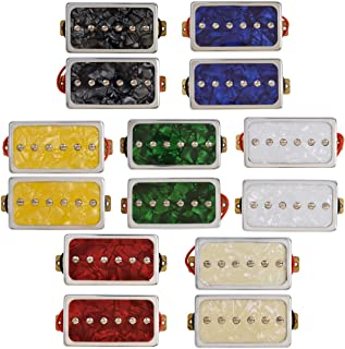 Kmise Single Coil Pickups Bridge and Neck Set for Les Paul LP Electric Guitar Parts Replacement Red Pearl and Black Pearl (MI0815)