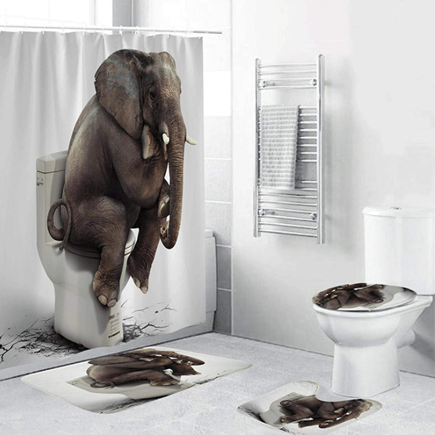 ZHEXI Elephant 3D Shower Curtain Set Carpet Ranking TOP12 Save money with Bathroom Mat To