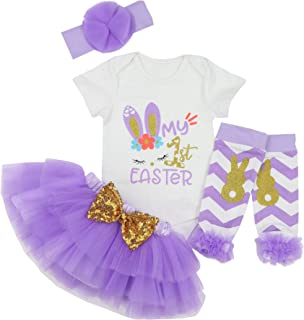 My 1st Easter Outfit Baby Girl Bunny Letters Romper Tutu Dress with Headband Bodysuit Set 0-3 Months Purple