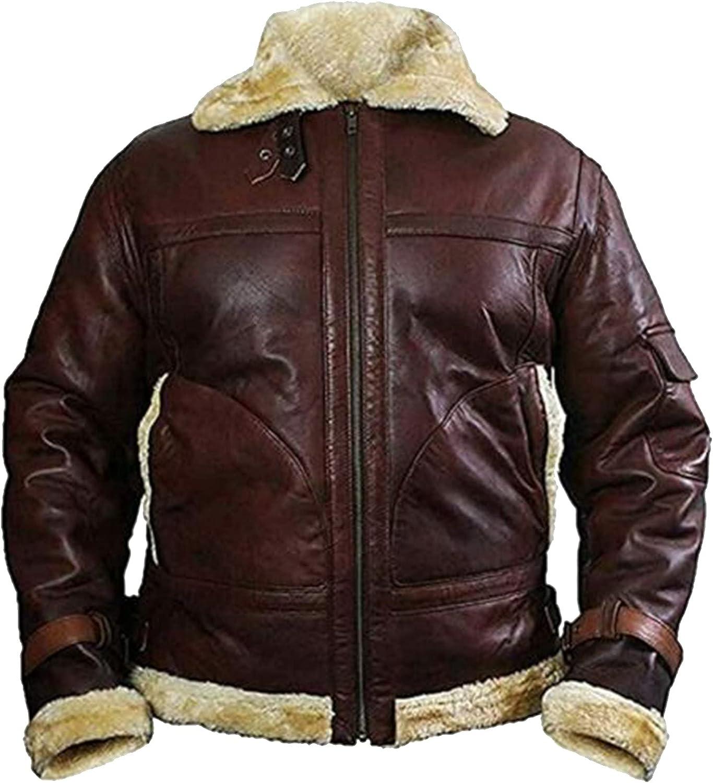 B3 Bomber Shearling Fur Real Sheepskin Leather Jackets Aviator Raf Flight Flying Coats
