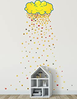 Stickerbrand Happy Cloud Raining 200 Emojis Wall Decal Sticker Great Party Favors. Make Rain Pattern for The Kid's Room. Reusable Smiley Emojis Similar to iPhone/Android Keyboard Icons. #6093