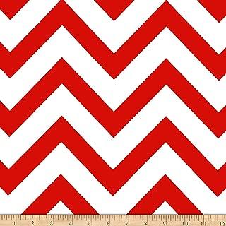 Mi Amor Duchess Satin Chevron Red/White Fabric By The Yard