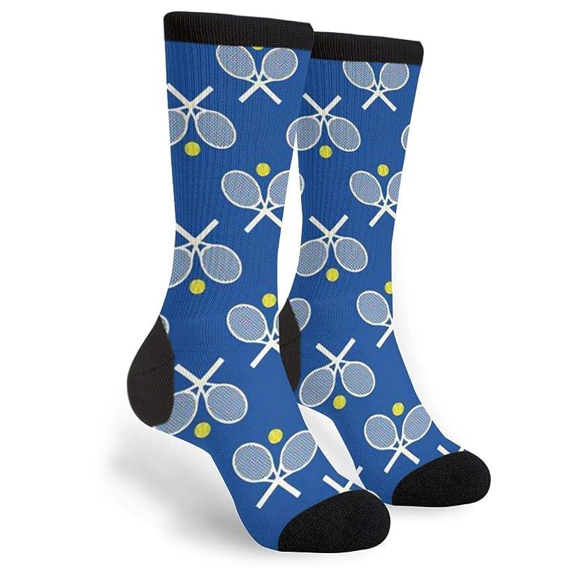 Unisex Fun Novelty Crazy Crew Socks Blue Tennis Racquets Dress Socks