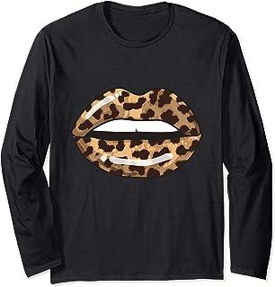Leopard Lips Fashion Lip Art Design Imprimir regalo Manga Larga