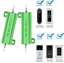 TiToeKi 50W 25 Ohm Resistor Aluminum Case Wirewound Screw Tap Chassis Mounted Load Resistors Suitable for Ring Doorbell, Nest Hello Doorbell 2PCS