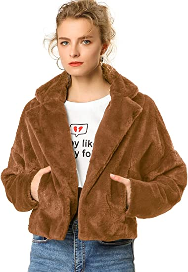 brown faux fur jackets and sweaters aesthetic