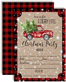 Watercolor Red Pickup Truck Christmas Holiday Party Invitations, 20 5