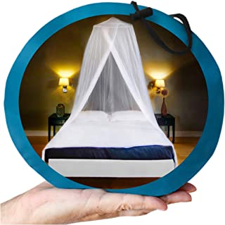"""EVEN NATURALS Luxury Mosquito Net Bed Canopy, Large: for Single to Queen Size, Quick Easy Installation, Finest Holes: Mesh 380, Curtain Netting, Storage Bag, No Chemicals Added, 335"""""""
