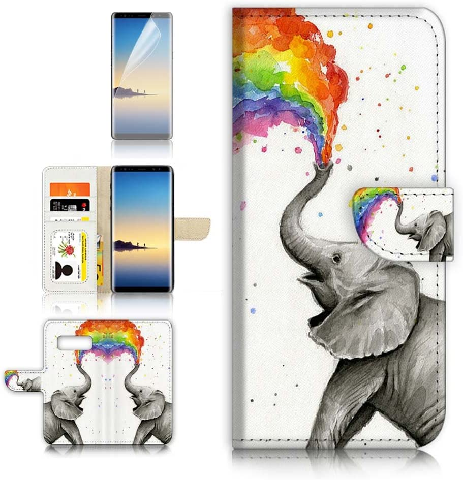 (for Samsung Note 8, Galaxy Note 8) Flip Wallet Case Cover & Screen Protector Bundle! A3957 Elephant Rainbow