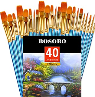 BOSOBO Pointed-Round Paint Brush, 4 Sets of 10 Pieces Fine Tip Nylon Hair Miniature Paint..