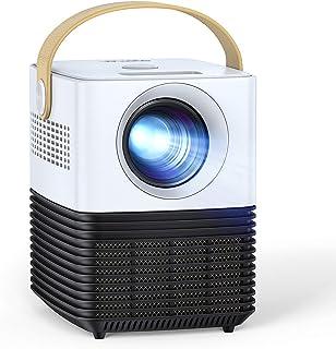 Mini proyector, APEMAN Pantalla Grande Soporte 1080P, ± 30° Corrección Electrónica Remota, Altavoces Duales, 50,000 Horas, Compatible con HDMI/USB/Teléfono Inteligente/TV Stick/PS4, para Cine en Casa